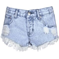 Glamorous Blue Wash Denim Cut Off Shorts ($19) ❤ liked on Polyvore featuring shorts, blue, ripped jean shorts, summer shorts, cut-off jean shorts, destroyed denim shorts and denim cutoff shorts