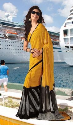 Golden yellow chiffon designer wear printed saree