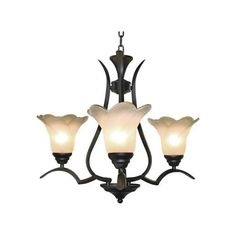 LNC 3-Light Vintage Chandelier,Matte Black,Frosted Glass Shade ($136) ❤ liked on Polyvore featuring home, lighting, ceiling lights, light bulb shade, colored lamps, light bulb lights, light bulb chandelier and light bulb lamp