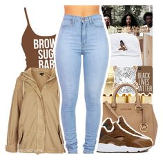 """"""""""" by yeauxbriana ❤ liked on Polyvore featuring Topshop, Anastasia Beverly Hills, Michael Kors, Allurez and NIKE"""