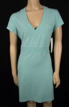 LULULEMON New Cool Out Dress 12 L Ribbed V Neck Heathered Green Stretch Modal