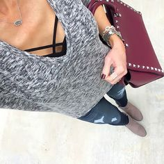 Express bralette + marled London tee + distressed skinnies + taupe booties + plum studded satchel [Instagram: @ontheDailyX]
