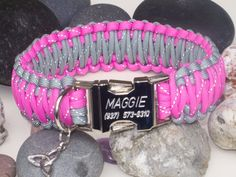 Reflective Pink & Grey Engraved Paracord Dog Collar