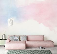 32 Ideas For Wall Murals Painted Cloud Cloud Wallpaper, Watercolor Wallpaper, Watercolor Walls, Room Wallpaper, Pink Wallpaper For Bedroom, Colorful Clouds, Blue Clouds, Cleaning Walls, Make Design