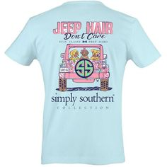 Simply Southern Prep Don't Care T-shirt (€33) ❤ liked on Polyvore featuring tops, t-shirts, beach tops, beach t shirts, dog top, blue tee and blue top