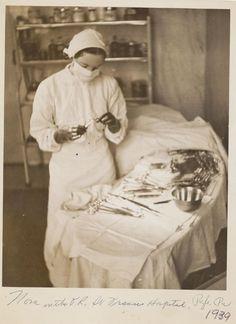 Nurse Nora Margaret Sullivan O'Neil in the operating room at St. Francis Hospital, 1939