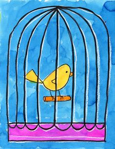 Art Projects for Kids: Bird in a Cage Watercolor Tutorial
