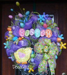 Lavender Mesh Whimsical EASTER Wreath with a CUTE by decoglitz