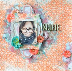 Scraps Of Elegance Scrapbook kits: mixed media shabby chic 'selfie' layout created using the 'timeless' kit by Annie