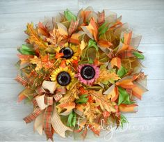 Fall wreath, Autumn wreath, Sunflower wreath by TrendyDecorShop on Etsy