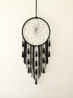 Black Tassel Dreamcatcher by catchingthesea on Etsy