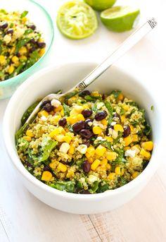 A simple, filling quinoa salad recipe with creamy black beans, sweet corn… Chicken Quinoa Salad, Quinoa Salad Recipes, Veggie Recipes, Mexican Food Recipes, Vegetarian Recipes, Cooking Recipes, Healthy Recipes, Quinoa Recipe, Healthy Salads