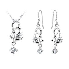 Classic Silver-Plated Cubic Zirconia Pierced Hearts Women's Jewelry Set(Necklace,Earrings)(White,Purple) – USD $ 14.99