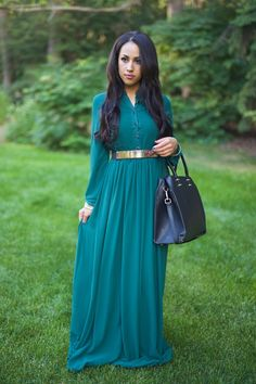Modest Belted Maxi Dress