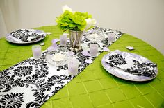 Flock'n Lime Wedding Centerpieces, Wedding Favors, Cheap Linens, Slice Of Lime, White Damask, New Theme, Chair Covers, Wedding Supplies, Table Linens