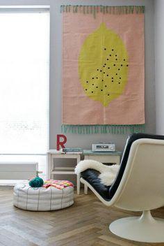 tentures murales, panneau en textile de gamme pastel