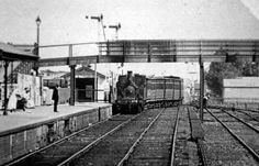 Coburg Railway Station looking south,steam locomotive tank engine hauled train arriving from city  in 1910.