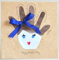 Mother's Day Card Idea - Handprint card decorated for Mom