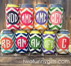 Monogrammed Koozies in a Chevron Pattern.  or is it Monogrammed Coozies? :)