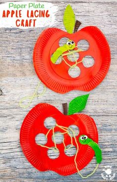 Paper Plate Apple Lacing Craft is adorable with the cutest worm for . - Kids Crafts -This Paper Plate Apple Lacing Craft is adorable with the cutest worm for . Kids Crafts, Frog Crafts, Bear Crafts, Fall Crafts For Kids, Preschool Crafts, Craft Projects, Craft Kids, Creative Crafts, Kids Diy