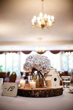 Mia + Shawn's DIY Country Shabby Chic Wedding at The Granville Inn - love this centrepiece