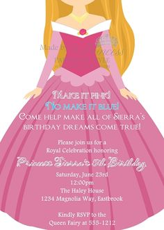 The Princess Series Aurora Sleeping Beauty Invitation- In case she ever decides to have a princess party
