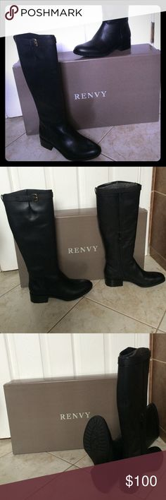 """Renvy Buckle Riding Boot Classic black, leather riding boots, have never been worn-they are too big for me.  Box included. Low heel boot Leather upper Buckle accent at shaft Inside ankle zip closure Stacked heel Leather insole and man-made sole Measurements: Heel height 1.5"""", shaft height 17½"""", calf circumference 15"""" Shoes Winter & Rain Boots"""