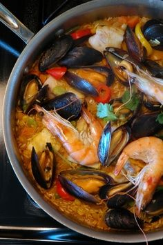 """Seafood paella - I'll use prawns without their heads, thank you!!! Too """"real"""" for me, lol!"""