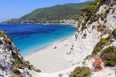Hovolo beach in Elios/Neo Klima on Skopelos island, Sporades, Aegean sea, Greece Skopelos Greece, Skiathos, Panormos Beach, Greece Culture, Greece Holiday, Holiday Resort, Island Beach, Greece Travel, Greece