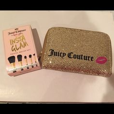 Juicy Couture Travel Brush Set New. Never used. However when I purchased I never noticed 1 brush was missing. Limited time Juicy Couture item. Juicy Couture Makeup Brushes & Tools