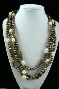 "64""L Chocolate & White Textured Genuine Pearl Strand Endless Necklace $0 sh - Necklaces & Pendants"