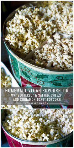 """Homemade Vegan Popcorn Tin featuring """"Buttered"""" & Salted, Cheezy, and Cinnamon Toast Popcorn - So delicious for a vegan holiday snack! Vegan Recipes Easy Healthy, Vegetarian Snacks, Vegan Appetizers, Vegan Foods, Vegan Desserts, Snack Recipes, Vegan Popcorn, Popcorn Tin, Holiday Snacks"""