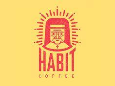 Habit Coffee - Logo Design - Coffee, Habit, Nun, Distressed, Red, Yellow