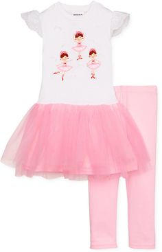 Blueberi Boulevard Little Girls' 2-Piece Ballerina Tutu Dress & Leggings Set