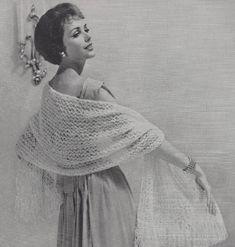 Feather Cloud Shawl • 1950s Knit Wrap Pattern • Vintage 50s Knitting Wedding Stole Patterns • Retro Fleisher Yarns • PDF File
