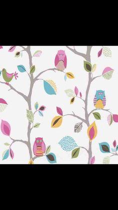 Owl wallpaper for kids room!