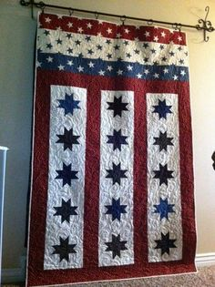 patriotic #quilt with blue stars, red and white stripes