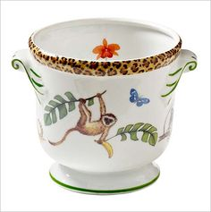 Monkey Magic Cachepot: Monkeys are magical because they are able to get their friends inthe jungle to come out and play. This beautiful cachepot enlivens any room.8
