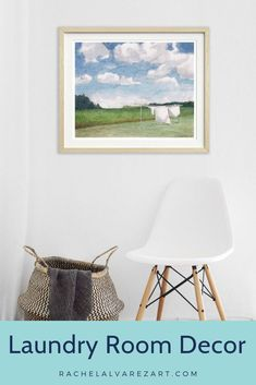 This watercolor painting of clothes hanging out to dry on the clothesline would be the perfect addition to your laundry room. Have a farmhouse styled home? This would work perfectly! This very modern yet vintage chic painting pairs well with just about any decor. Goes perfect on any wall or above cabinets. Very shabby chic. This antique looking picture is truly a work of art. #clothespins #handpainted #uniqueartwork