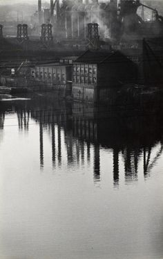 """arsvitaest: """"Factory Reflected in River"""" Author: W. Eugene..."""