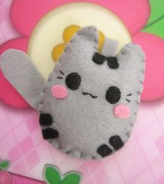 pusheen cat felt keychain