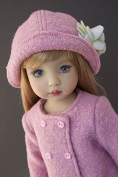 Dusty Rose coat and hat set for 13 inch dolls such as Little Darlings by Dianna Effner