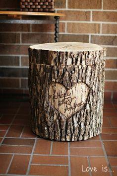 Version tronc d'arbre urne de mariage