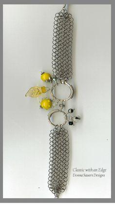 Mustard Chainmaile bracelet | handmade glass beads
