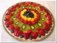 FruitPizza with shortbread crust and light glaze