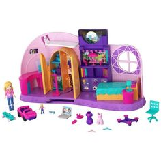 This is a Polly Pocket Polly's Go Tiny! Room from Mattel that features a tiny room complete with furniture and small accessories. Toys For Girls, Kids Toys, Princess Doll House, Polly Pocket Dolls, Palace Pets, Barbie Sisters, Toys Uk, Mattel, Big Family