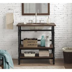 Rustic yet refined this bathroom vanity will add an industrial flair to your bathroom decor. It features a solid wood top and steel tube frame complete with pipe fitting details and and an oval sink. Industrial Bathroom Vanity, Wood Vanity, Bathroom Sink Vanity, Industrial Toilets, Boy Bathroom, Diy Vanity, Industrial Pipe, Industrial Office, Basement Bathroom