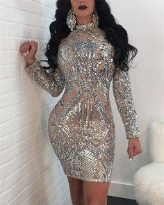 Sexy Sequined Long Sleeve Evening Dress – ebuytide