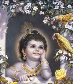 Baby Krishna looks out his window to see the birds and trees. Krishna has a loving relationship with each and every living entity. Baby Krishna, Krishna Lila, Lord Krishna Images, Radha Krishna Pictures, Radha Krishna Photo, Ganesha Pictures, Krishna Photos, Arte Krishna, Jai Shree Krishna
