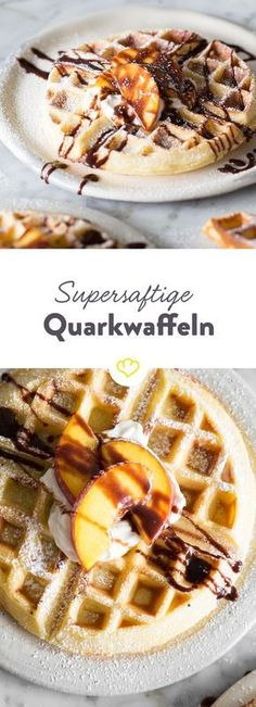 Richtig gute Waffeln sind außen knusprig und innen saftig. Richtig gute Waffeln werden aus Quark und Wasser gemacht. Richtig gute Waffeln machst du!